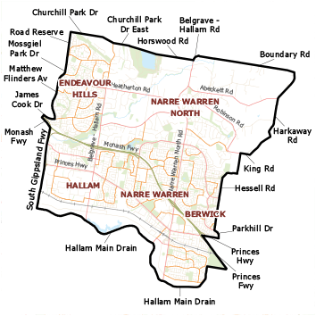 Narre Warren North Electorate map